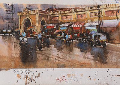 A wet day in Bazar in Miraj 20x14