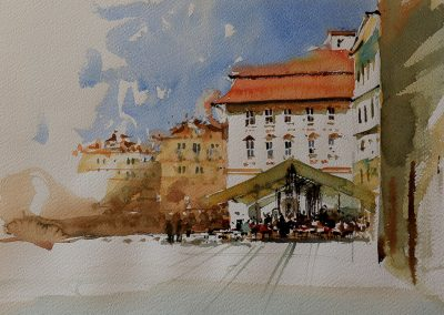 Crisp light n the afternoon in Prague 16.5x11